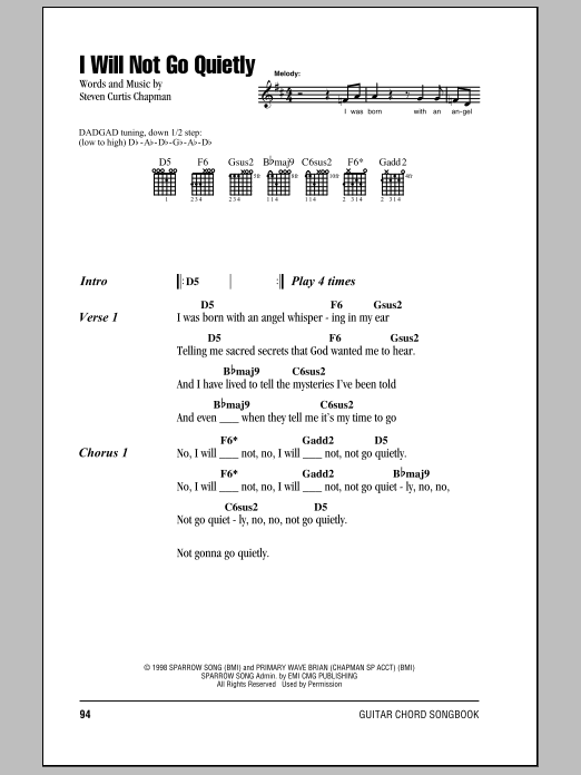 I Will Not Go Quietly Sheet Music
