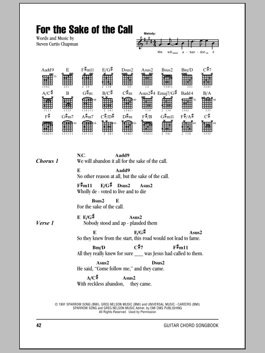 For The Sake Of The Call (Guitar Chords/Lyrics)