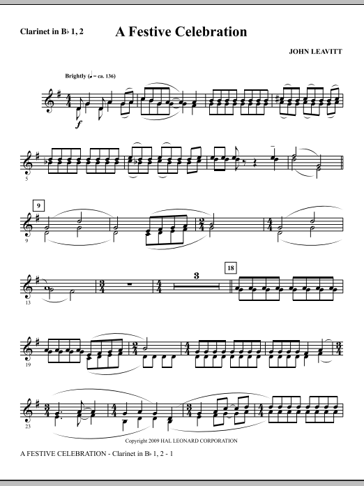 A Festive Celebration - Clarinet 1 & 2 (Choir Instrumental Pak)