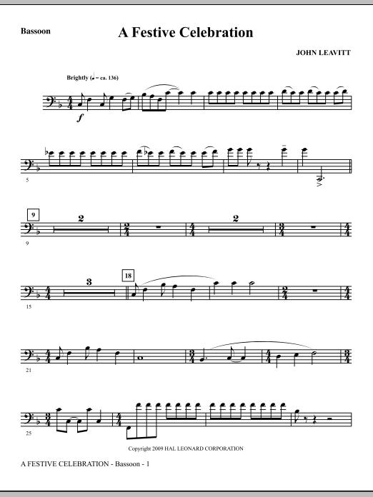 A Festive Celebration - Bassoon (Choir Instrumental Pak)