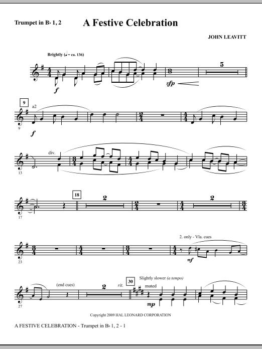 A Festive Celebration - Bb Trumpet 1,2 (Choir Instrumental Pak)