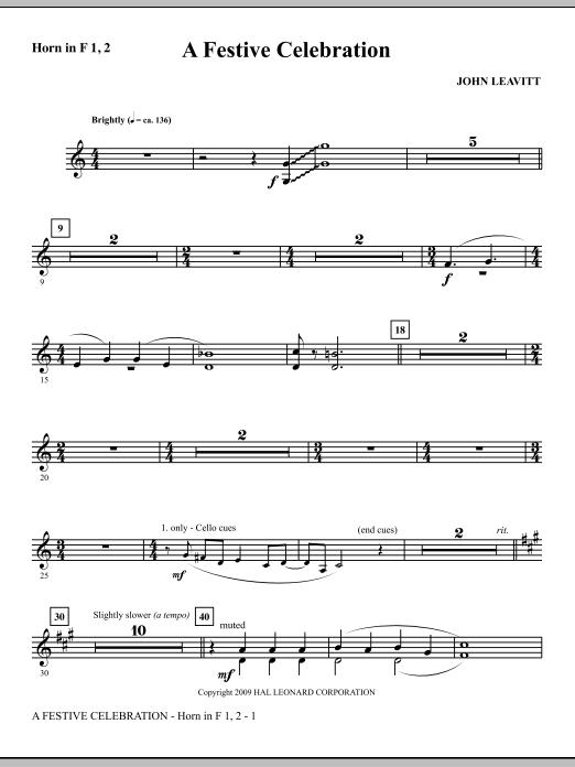 A Festive Celebration - F Horn 1,2 (Choir Instrumental Pak)