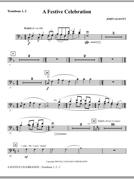 A Festive Celebration - Trombone 1 & 2 (Choir Instrumental Pak)