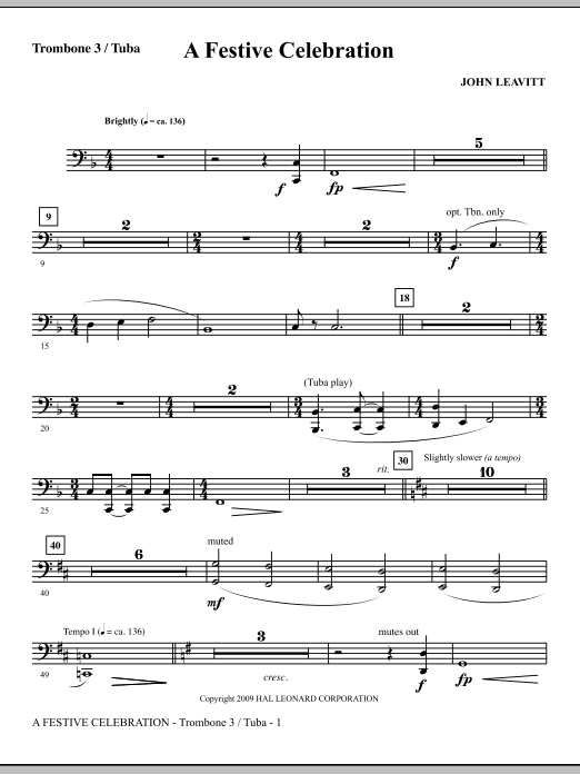 A Festive Celebration - Trombone 3/Tuba (Choir Instrumental Pak)