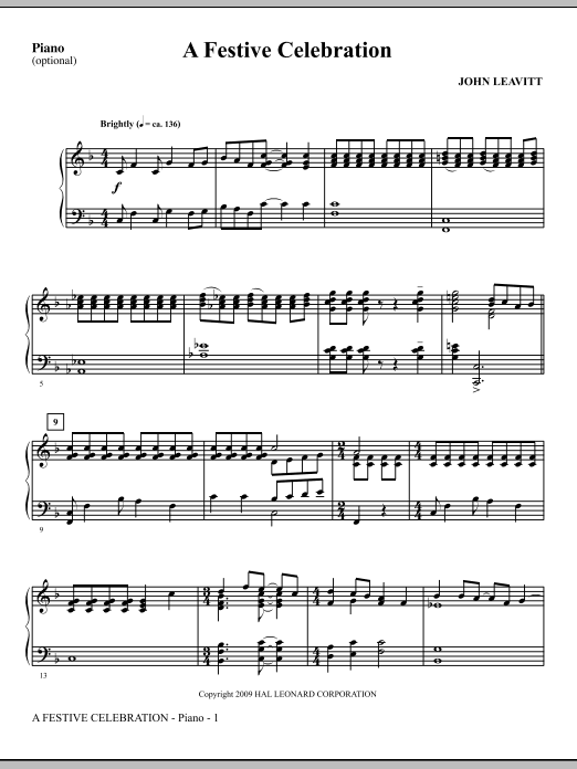 A Festive Celebration - Piano (Choir Instrumental Pak)