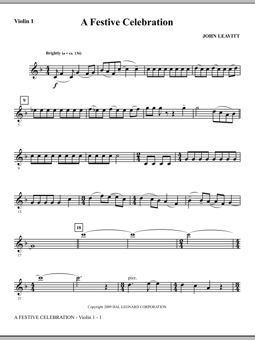 A Festive Celebration - Violin 1 (Choir Instrumental Pak)