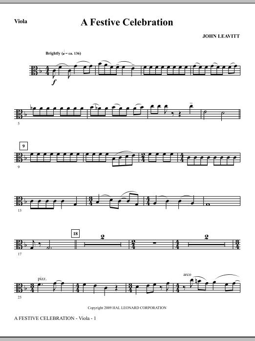 A Festive Celebration - Viola (Choir Instrumental Pak)