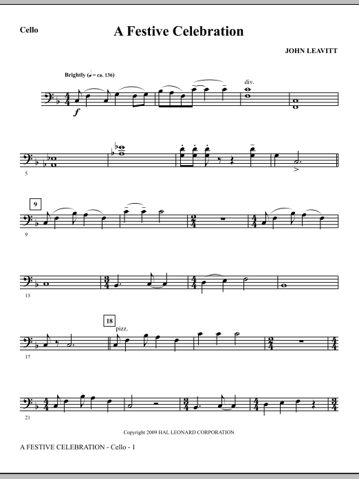A Festive Celebration - Cello (Choir Instrumental Pak)