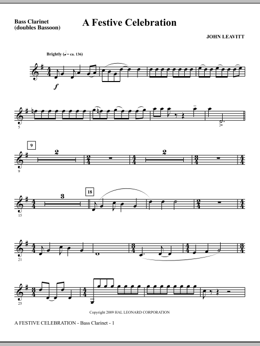 A Festive Celebration - Bb Bass Clarinet (Choir Instrumental Pak)
