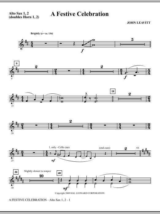 A Festive Celebration - Alto Sax 1,2 (double Horn 1,2) (Choir Instrumental Pak)