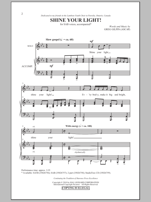 Shine Your Light! Sheet Music