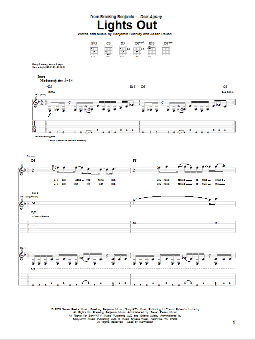 Tablature guitare Lights Out de Breaking Benjamin - Tablature Guitare