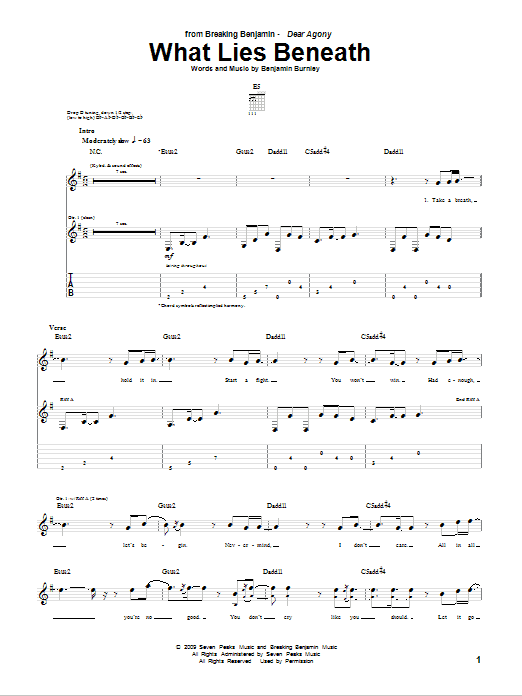 Tablature guitare What Lies Beneath de Breaking Benjamin - Tablature Guitare