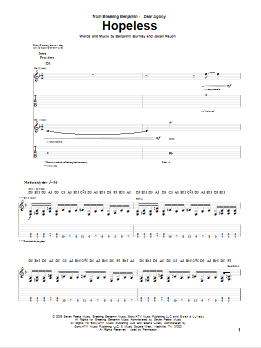 Tablature guitare Hopeless de Breaking Benjamin - Tablature Guitare