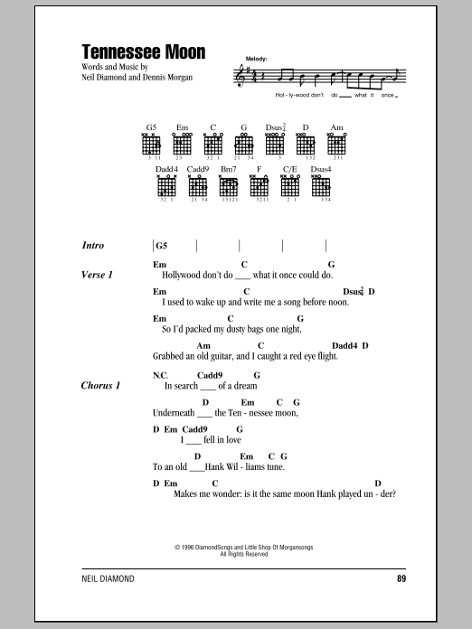 Tennessee Moon (Guitar Chords/Lyrics)