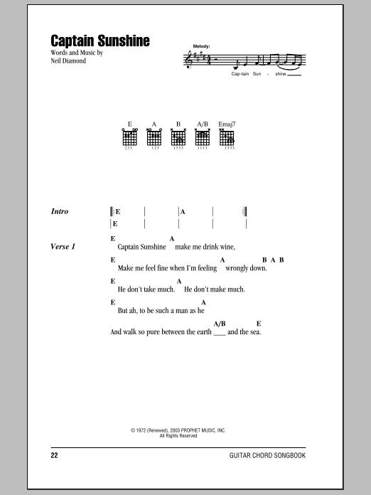 Captain Sunshine (Guitar Chords/Lyrics)