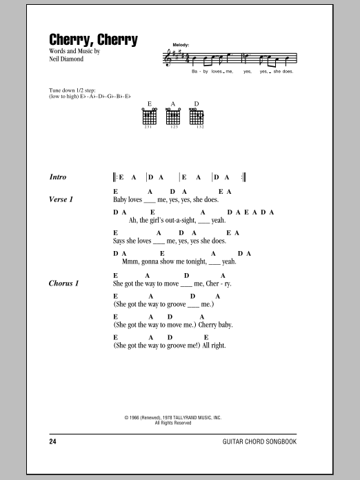 Cherry, Cherry Sheet Music