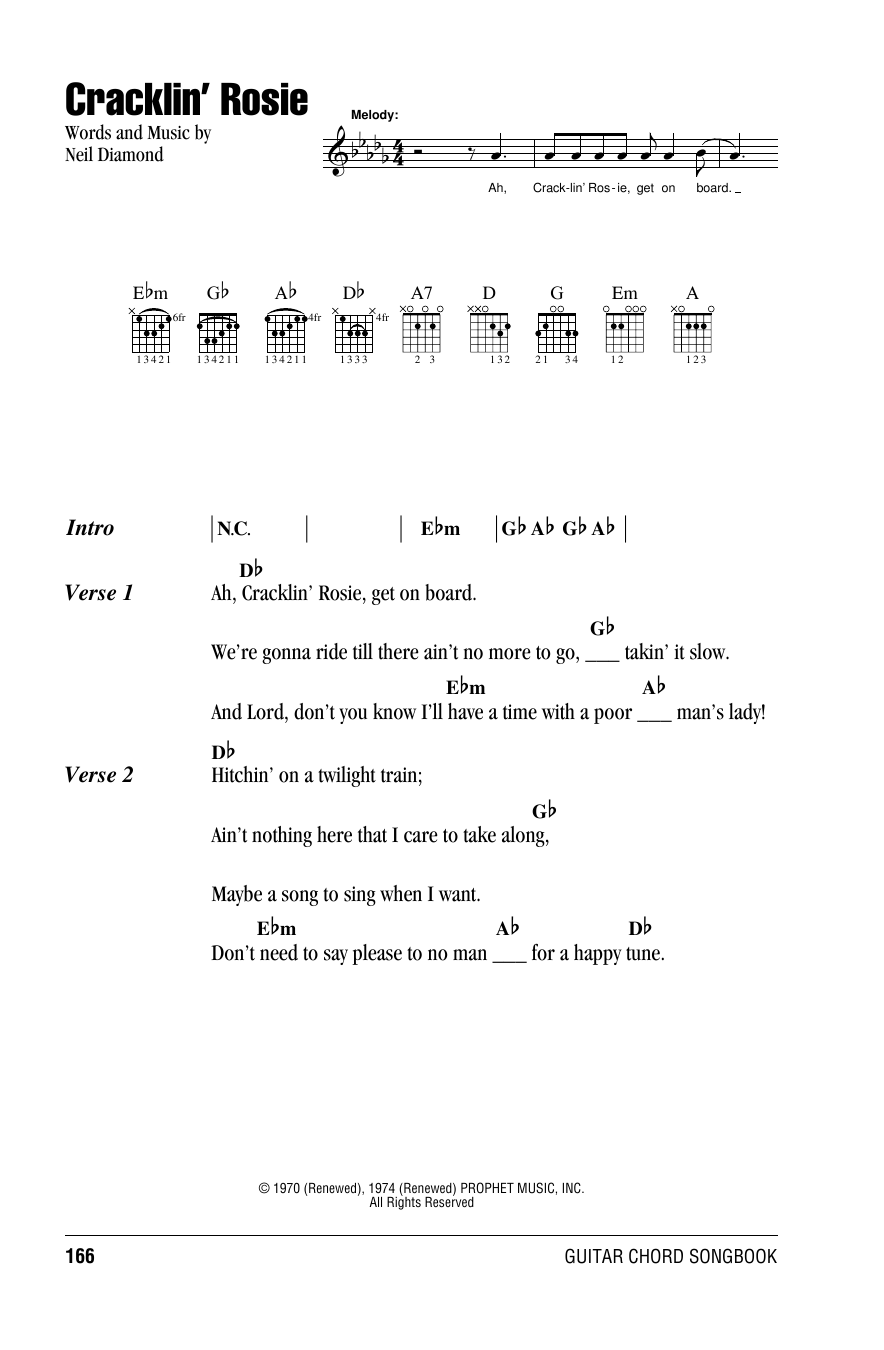 Cracklin Rosie Sheet Music Neil Diamond Lyrics Chords