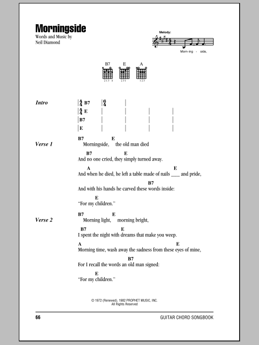 Morningside sheet music by Neil Diamond (Lyrics & Chords – 78864)