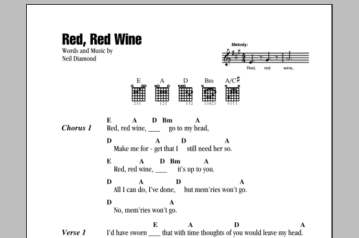 Red Red Wine Sheet Music Neil Diamond Lyrics Chords