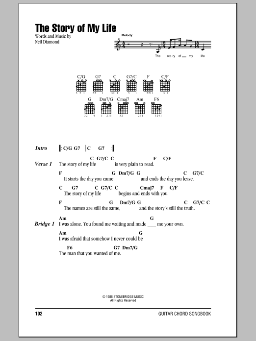 The Story Of My Life Sheet Music Neil Diamond Lyrics Chords