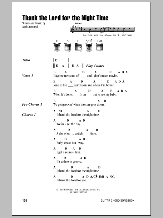 Thank The Lord For The Night Time (Guitar Chords/Lyrics)