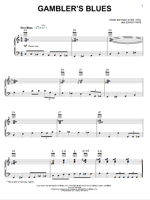 Gambler's Blues Sheet Music
