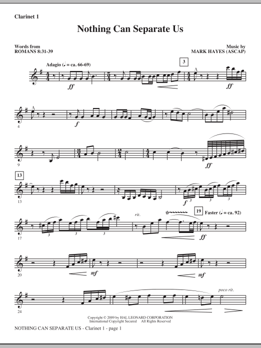 Nothing Can Separate Us - Clarinet 1 (Choir Instrumental Pak)