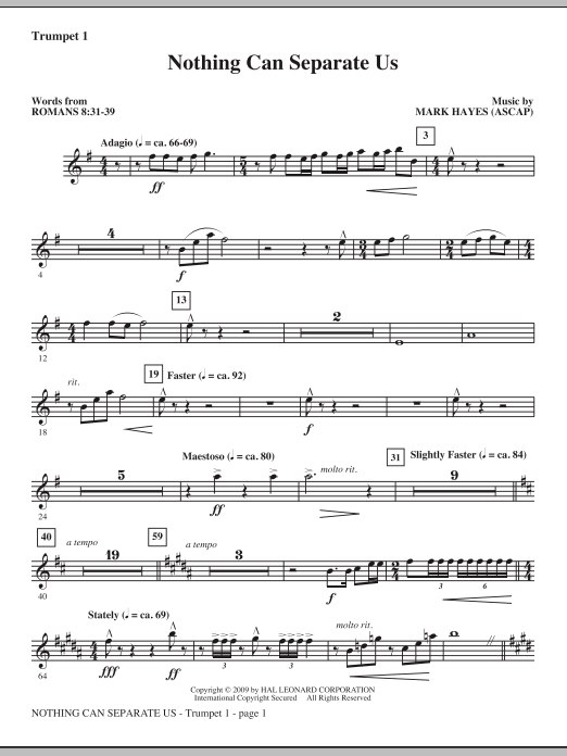 Nothing Can Separate Us - Trumpet 1 (Choir Instrumental Pak)
