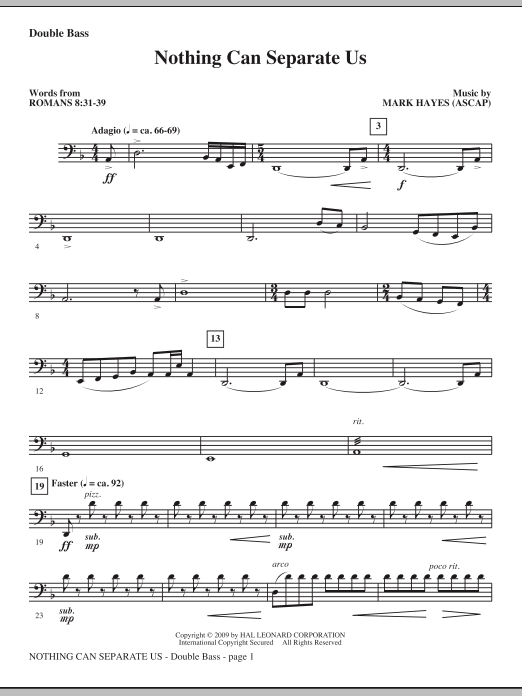 Nothing Can Separate Us - Double Bass (Choir Instrumental Pak)
