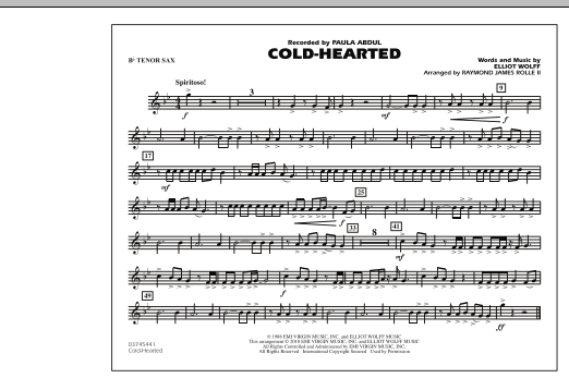 Cold-Hearted (Featured in Drumline Live) - Bb Tenor Sax (Marching Band)