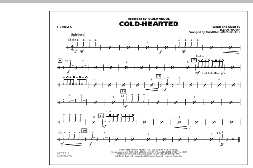Cold-Hearted (Featured in Drumline Live) - Cymbals (Marching Band)