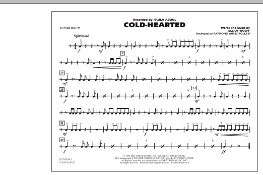 Cold-Hearted (Featured in Drumline Live) - Tenor Drum (Marching Band)