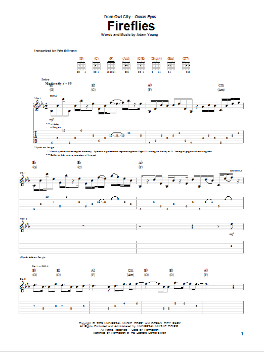 Ukulele ukulele tabs owl city : Fireflies Guitar Tab by Owl City (Guitar Tab – 74105)