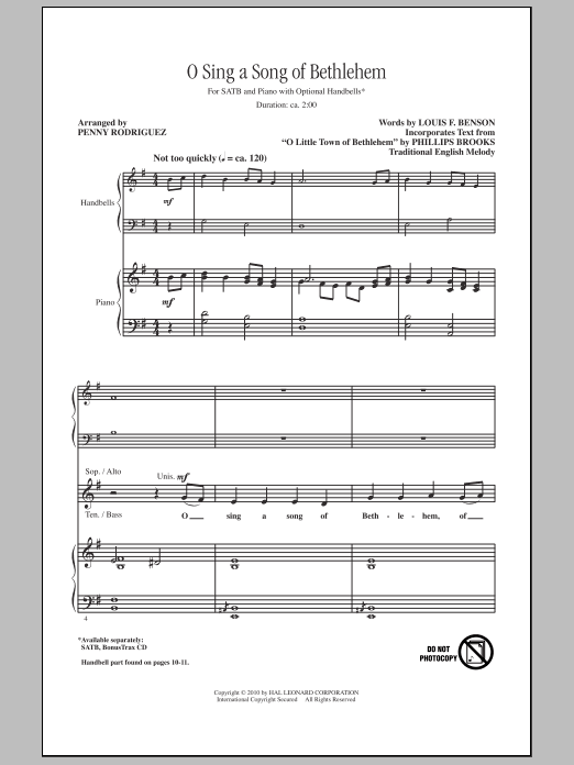 O Sing A Song Of Bethlehem Sheet Music