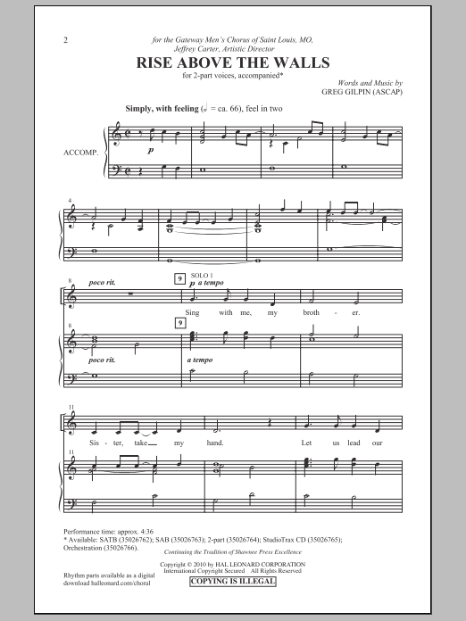 Rise Above The Walls Sheet Music