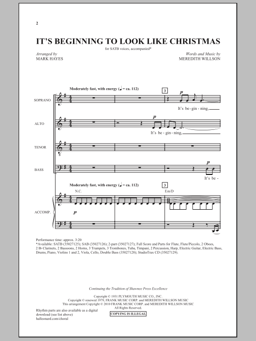 It's Beginning To Look Like Christmas Sheet Music