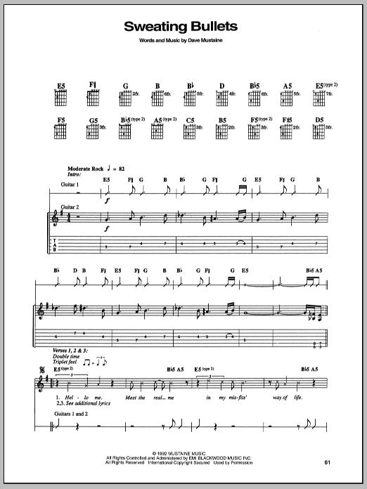 Tablature guitare Sweating Bullets de Megadeth - Tablature Guitare