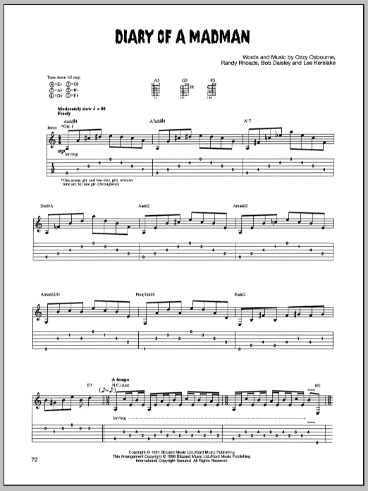 Tablature guitare Diary Of A Madman de Ozzy Osbourne - Tablature Guitare