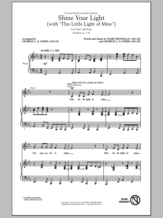 Shine Your Light (with This Little Light Of Mine) Sheet Music