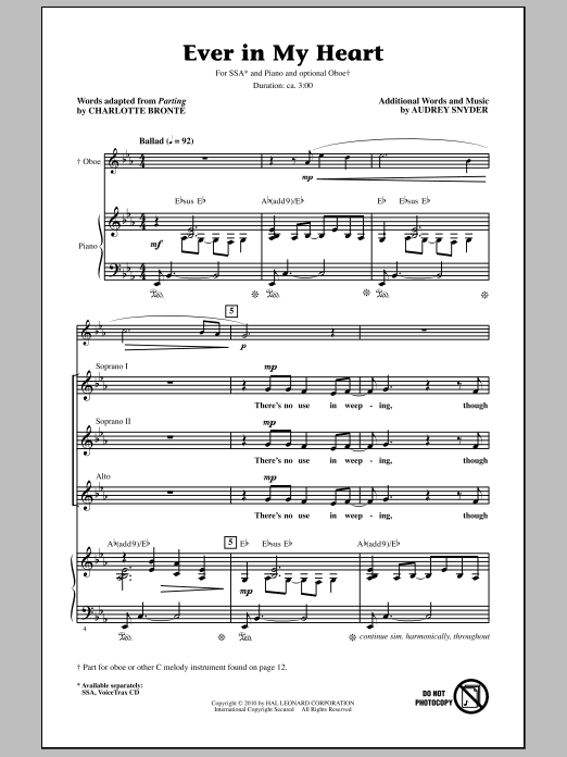 Ever In My Heart Sheet Music