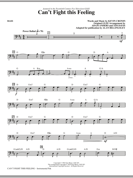 Can't Fight This Feeling (from Glee) (adapt. Alan Billingsley) - Bass (Choir Instrumental Pak)