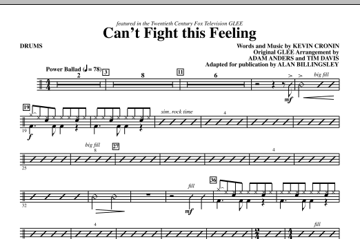 Can't Fight This Feeling (from Glee) (adapt. Alan Billingsley) - Drums (Choir Instrumental Pak)