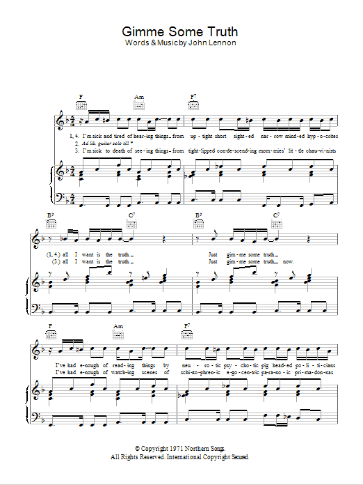 Gimme Some Truth Sheet Music