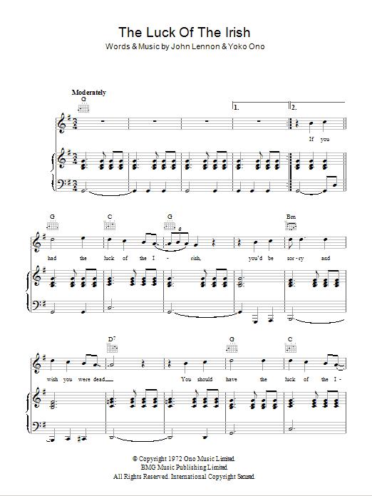 The Luck Of The Irish Sheet Music