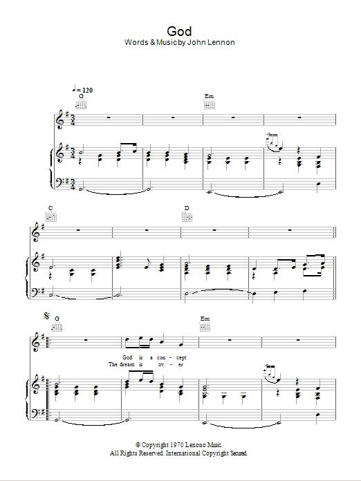 God (Piano, Vocal & Guitar)