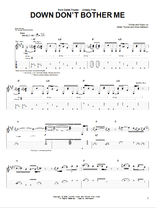 Tablature guitare Down Don't Bother Me de The Derek Trucks Band - Tablature Guitare