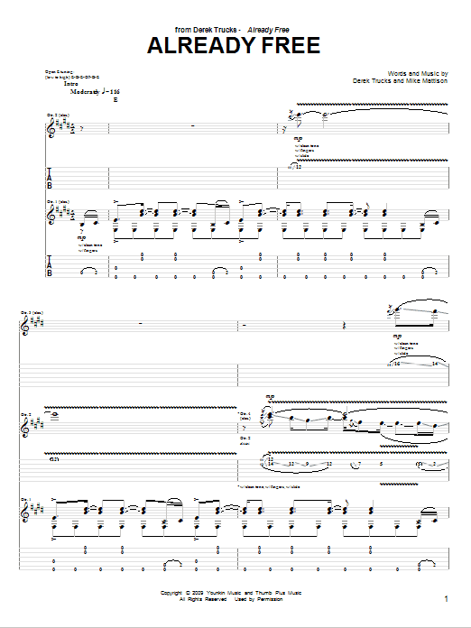Already Free Sheet Music