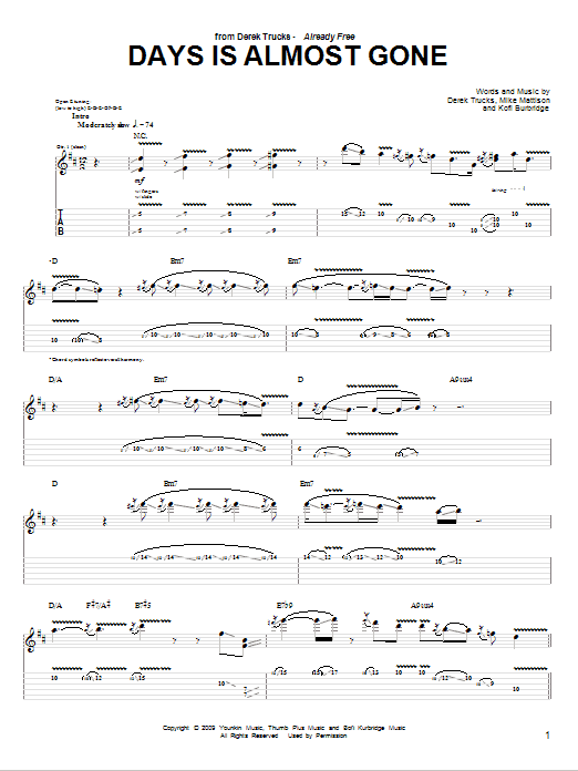 Tablature guitare Days Is Almost Gone de The Derek Trucks Band - Tablature Guitare