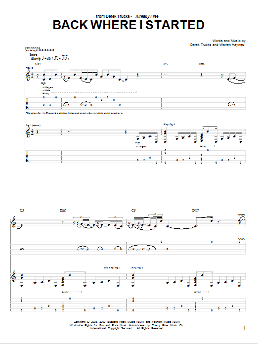 Back Where I Started Sheet Music